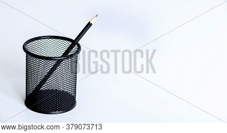 Black Pencil On A Light Background, Graphic Pencil, Glass For Pencils