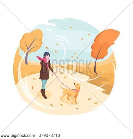 Pet Walking In Autumn Wind, Vector Isometric Flat Illustration. Woman With Dog On Leash Walking In A