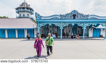 Solo, Indonesia - November, 02, 2017: Colorfull Blue Palace Of The Sultan In Surakarta, Java Indoens