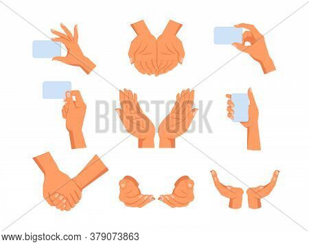 Set Of Isolated Human Hands Gesture. Sign Of Hold, Take And Give, Peace And Growth, Nature Care And