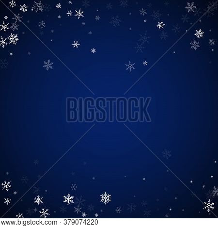 Sparse Snowfall Christmas Background. Subtle Flying Snow Flakes And Stars On Dark Blue Night Backgro