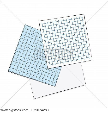 Note blank sheets of squared paper lays on the surface illustration isolated. Flat lay empty business note pages digital copy space.Top view squared grid paper notes for writing business ideas and goals. School. Copy space place quick notes.