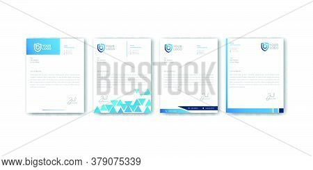 Modern Blue Letterhead Design Templates Vector Graphic