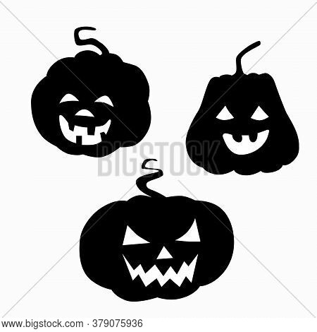 Black Silhouette Pumpkin With Cut Out Eyes Nose And Grin Mouth For Halloween. Jack Lantern A Symbol