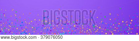 Festive Pleasing Confetti. Celebration Stars. Festive Confetti On Violet Background. Adorable Festiv