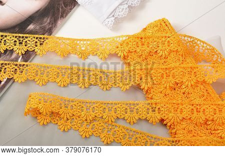 Tapes Of Yellow Gentle Guipure, Beauty Lace Fabric. Elastic Material. Using For Atelier And Needlewo