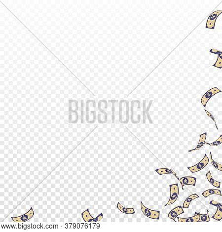 Chinese Yuan Notes Falling. Sparse Cny Bills On Transparent Background. China Money. Divine Vector I