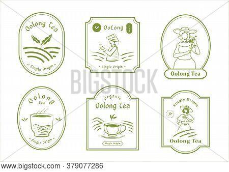 Single Origin Tea Badge Logo Design Set With English Woman Farmer Harvest,mountain,organic Tea,hot T