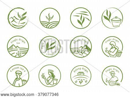 Single Origin Tea Logo Set With Farmer,plant,tea Leaf,cup And Local People Harvest.