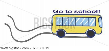 Vector Illustration Of A Yellow Bus.back To School. Public Transport Line Art Concept. Graphic Desig