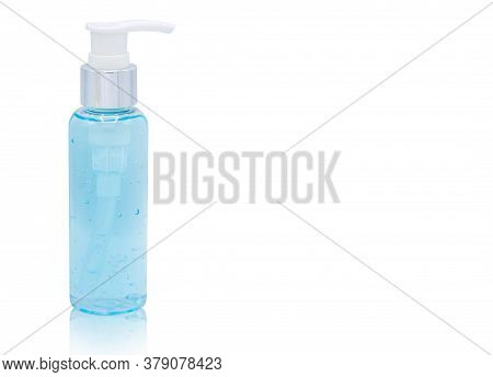 Alcohol Gel For Hand Wash Isolated On White Background With Clipping Path ,copy Space