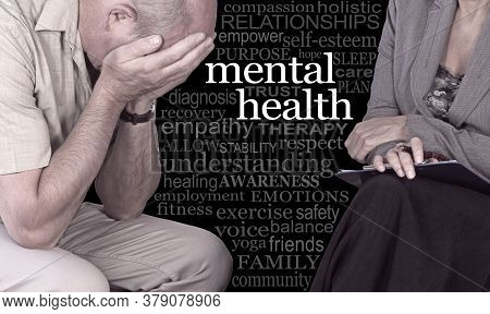 Mental Health Awareness Campaign For Men - Distraught Man With Head In Hands Beside Female Therapist