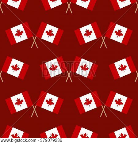 Canadian Flags Vector Seamless Pattern Background For Canada Day, Civic Day And Other National Holid