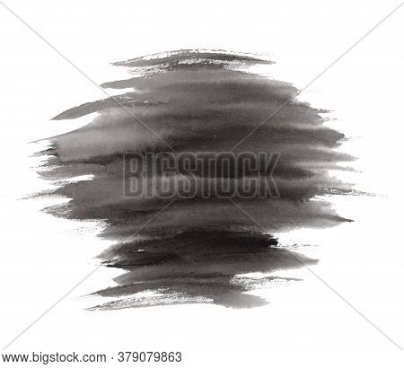 Abstract Vector Expressive Striped Black Ink Or Watercolor Stain. Mysterious Textured Inky Blob Isol
