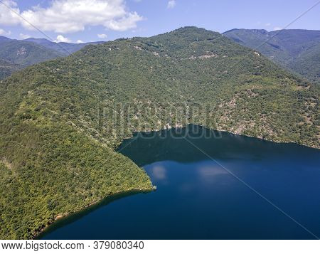 Aerial View Of The Vacha (antonivanovtsi) Reservoir, Rhodope Mountains, Plovdiv Region, Bulgaria