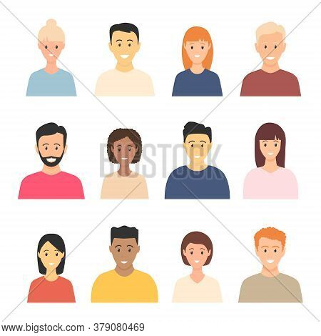 Young Happy Multicultural People Avatar Set. Smiling People Heads Vector Illustration Collection. Di