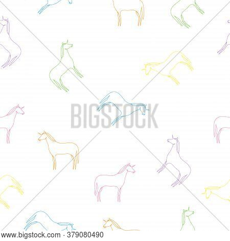 Unicorn Seamless Pattern White Background. Colorful Unicorns Collection Isolated On White. Fairy Col