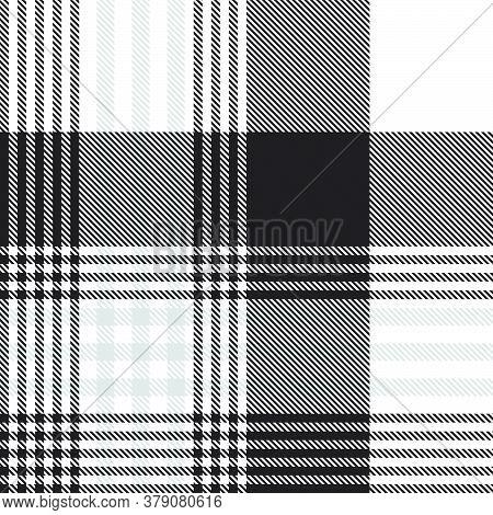 Black And White Glen Plaid Textured Seamless Pattern
