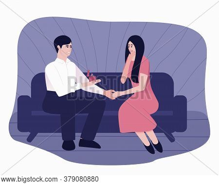 A Man Makes A Marriage Proposal To His Beloved Woman. A Man Holds A Box With A Wedding Ring. A Lovin