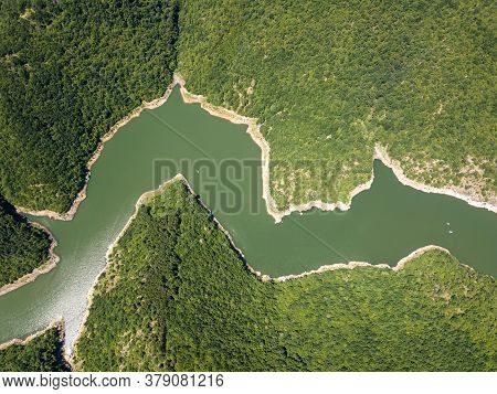 Aerial View Of Tsankov Kamak Reservoir, Smolyan Region, Bulgaria