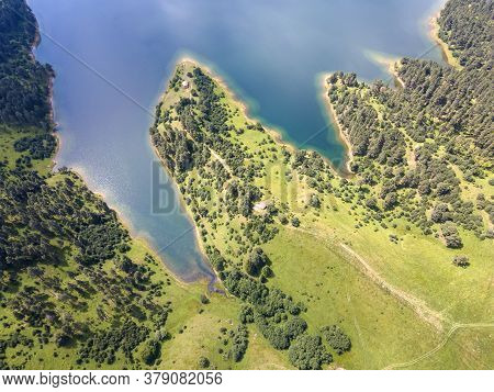 Aerial View Of Dospat Reservoir, Smolyan Region, Bulgaria