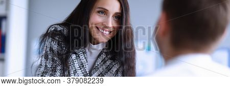Woman Boss Cheerfully Communicates With Subordinate. Sociability, Ability To Win Over People. Woman
