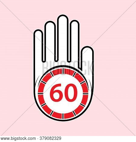 Raised, Open Hand With A Watch On It. Time For Rest Or Break, Pause. 60 Minutes Or Seconds. Flat Des