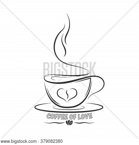 Drawn Outline Of A Coffee Cup With The Inscription Coffee For Love. Vector For Stickers, Logos, Stic