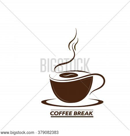 Hand-drawn Silhouette Of A Coffee Cup With The Inscription Coffee Break. Vector For Stickers, Logos,