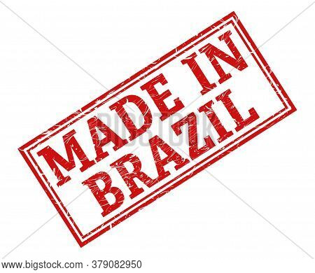 Stamp With The Inscription Made In Brazil, Isolated On A White Background,