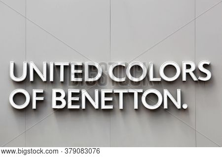 Tassin, France - June 28, 2020: United Colors Of Benetton Logo On A Wall; Benetton Group Is A Global