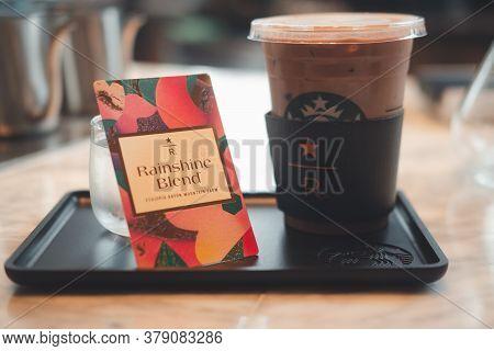Bangkok, Thailand - August 2, 2020 : Starbucks Cold Mocha Drink In Plastic Cup In Starbucks Reserve
