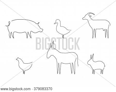 Farm Animals Line Set Vector Illustration. Pig, Duck, Goat, Chicken, Rabbit And Donkey Isolated On W