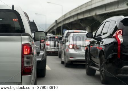 Pick Up Car On The Road In Traffic Junction There Are Many Cars On The Road. With Different Levels O