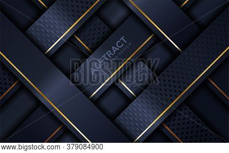 Abstract Navy And Gold Lines Overlap Layer Textured Background Design. Vector Graphic Illustration