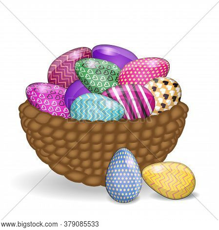 Vintage Easter Eggs In A Wicker Nest, Rectangular Greeting Card On A Background.