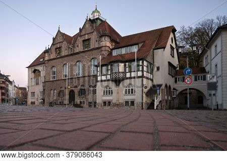 Bergisch Gladbach, Germany - April 7, 2020: Low Angle Image Of The Townhall Of Bergisch Gladbach At