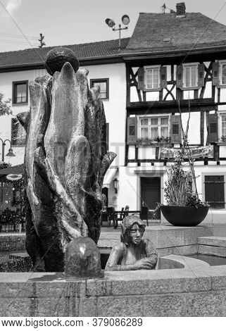 Bad Sobernheim, Germany - June 25, 2020: Close Up Image Of The Fountain On The Market Square Of Bad
