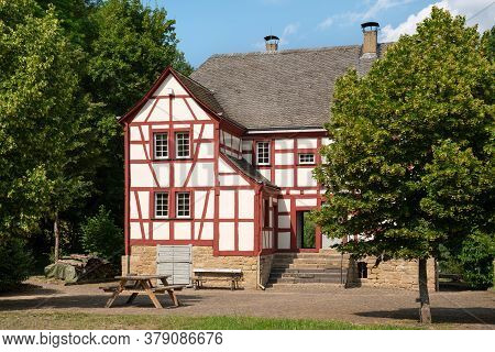 Bad Sobernheim, Germany - June 26, 2020: Panoramic Image Of Old Half-timber Houses, Village Outdoor