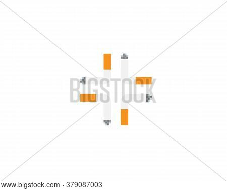 Cross Of Four Cigarettes Logo On White Background. Creative Illustration Of Bad Habit Provoking Illn