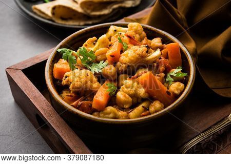 Indian Mix Veg Or Mixed Vegetable Recipe Served In A Bowl With Chapati