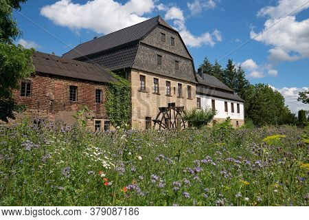 Bad Sobernheim, Germany - June 27, 2020: Panoramic Image Of The Old Watermill Of Bad Sobernheim On J