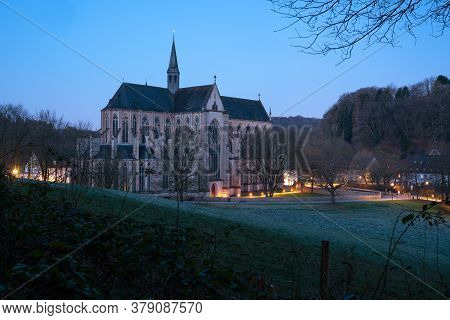 Odenthal, Germany - March 27, 2020: Panoramic Image Of The Altenberg Cathedral In Morning Light On M