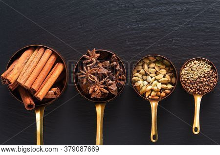 Food Concept Mix Of Masala Spices, Cinnamon, Fennel, Star Anise, Coriander Seed And Cinnamon Pods In