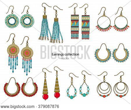 Collection Of Handmade Earrings In Ethnic Style. Color Vector Illustration Isolated On A White Backg
