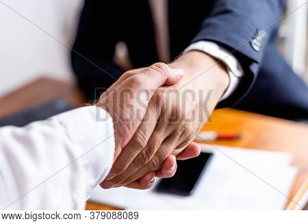 Businessman Handshake Close Up. Man Handshake Fro Business Deal. Handshake. Business Manager Handsha