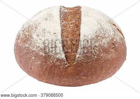 Loaf Of Black Round Loaf Isolated On White Background. Place For Text
