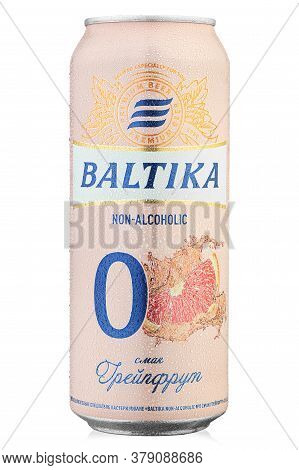 Ukraine, Kyiv - June 22. 2020: Aluminium Can Beer Baltika, Non Alcoholic 0 With Grapefruit Flavor  O