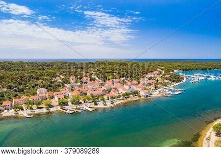 Town Of Veli Rat On Dugi Otok Island On Adriatic Sea In Croatia, Aerial View From Drone