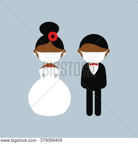 Cartoon Dark Skin Wedding Characters. Bride And Groom Wearing Medical Face Mask. Couple Newlyweds. V